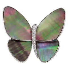 Butterfly Brooch Black Mother-of-Pearl Diamond Gold