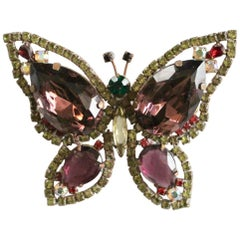 Butterfly Brooch Vintage with multicolored stones