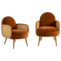 Butterfly Cane Armchair Set in Vintage Style, Rich Amber
