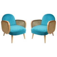 Butterfly Cane Armchair Set in Vintage Style, Turquoise Blue