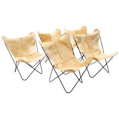 Butterfly Chairs, New Hair-On Cowhide Leather Covers, Hardoy Design for Knoll