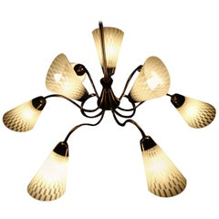 Butterfly Chandelier Brass and Art Glass, Germany, 1950s