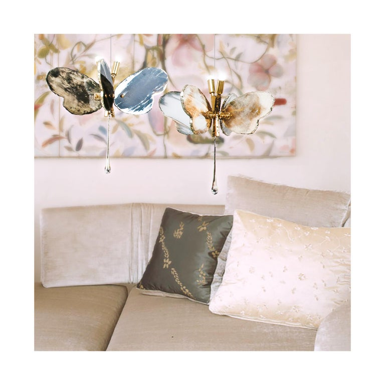 Butterfly Contemporary Lamp, Black Silvered Glass, Brass Body, Crystal Drop In New Condition For Sale In Pietrasanta, IT