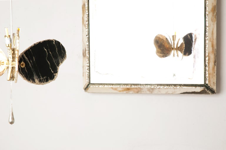 Butterfly Contemporary Lamp, Black Silvered Glass, Brass Body, Crystal Drop For Sale 1