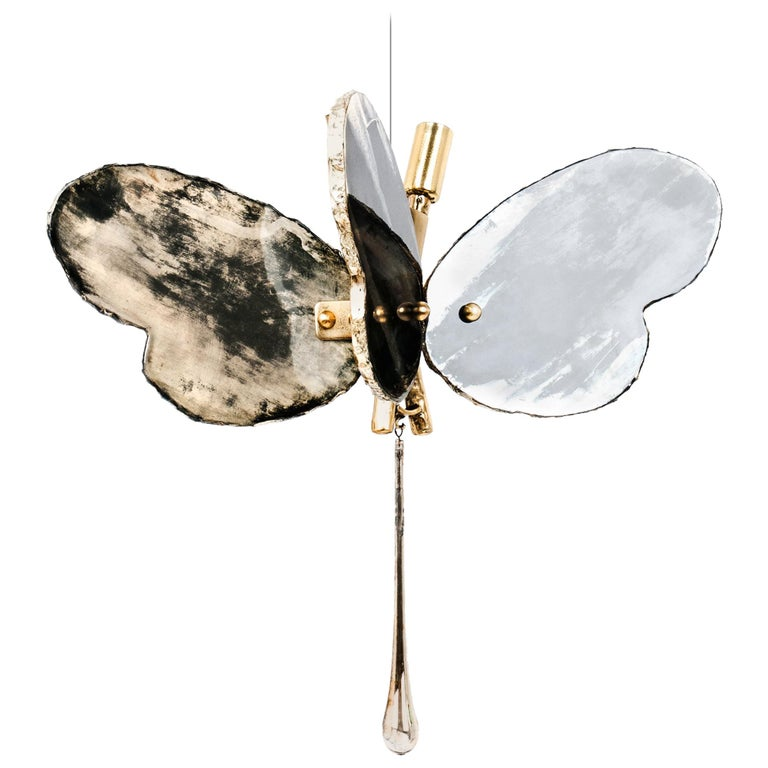 Butterfly Contemporary Lamp, Black Silvered Glass, Cast Brass Body, Crystal Drop For Sale