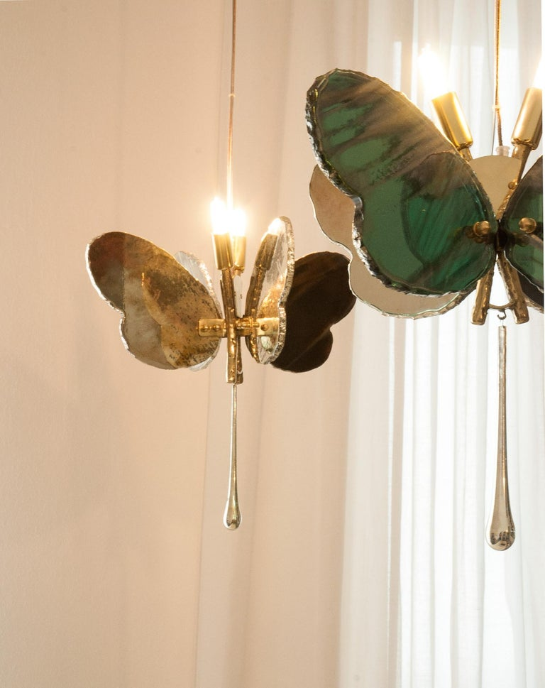 Butterfly Contemporary Lamp, Black Silvered Glass, Cast Brass Body, Crystal Drop For Sale 10