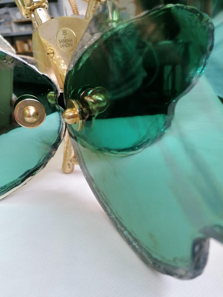 Butterfly Contemporary Lamp, Jade Silvered Glass, Brass Body, Crystal Drop For Sale 10