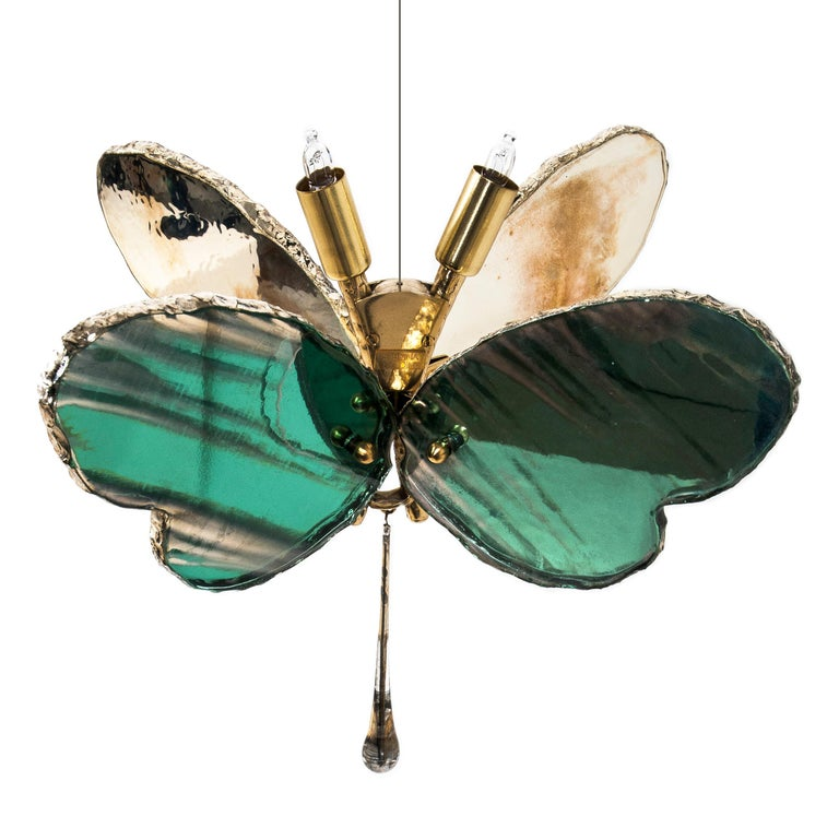 Butterfly Contemporary Lamp, Jade Silvered Glass, Brass Body, Crystal Drop For Sale