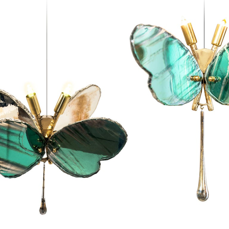 Art Glass Butterfly Contemporary Lamp, Jade Silvered Glass, Brass Body, Crystal Drop For Sale