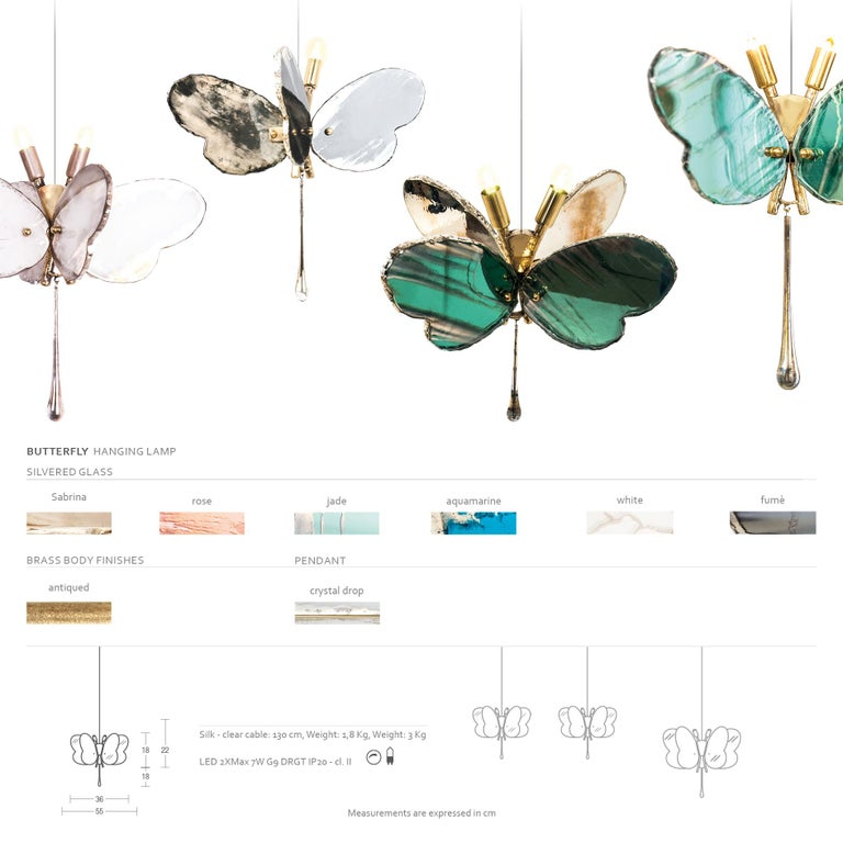 Butterfly Contemporary Lamp, Jade Silvered Glass, Brass Body, Crystal Drop For Sale 2