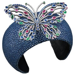JAG New York Platinum Butterfly with Emerald, Sapphire, Ruby and Diamond Cuff