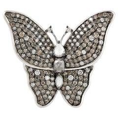 Butterfly Diamond Antique Style 18 Karat Gold Ring