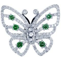 Butterfly Diamond Emerald 14 Karat White Gold Ring