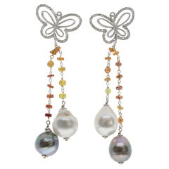 Butterfly, Diamond, Sapphire and Pearl Earrings in 18 Karat White Gold