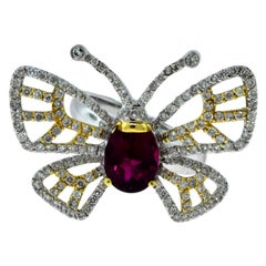 Butterfly Diamond, Yellow, White Gold and Rubellite Ring