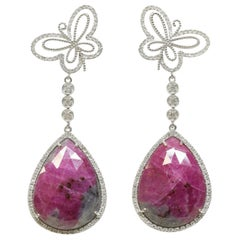 Butterfly Earrings with Rubies and White Diamonds Set in 18 Karat White Gold
