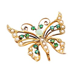 Butterfly Emerald and Opal Pendant Pin with Seed Pearls circa 1979