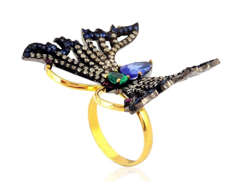 Contemporary Butterfly Emerald Ruby Tanzanite Diamond Cocktail Ring For Sale