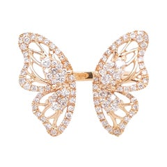 Butterfly Fashion Ring, 18 Karat Rose Gold with One Carat of Diamonds