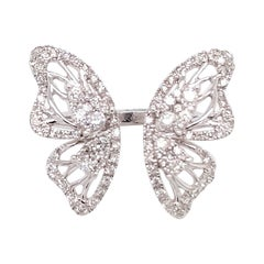 Butterfly Fashion Ring, 18 Karat Whit Gold with One Carat of Diamonds