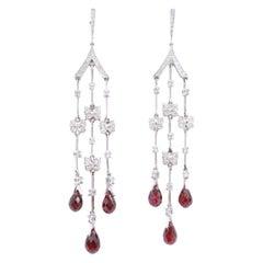Butterfly Garnet Drop and Diamond 18 Karat White Gold Dangle Earrings