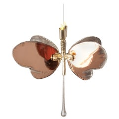Butterfly Hanging Lamp Rose Silvered Glass, Brass Body, Crystal Drop