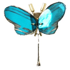 Butterfly Hanging Lamp Silvered Glass Aquamarine, Brass Body, Crystal Drop