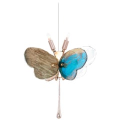 Butterfly Hanging Lamp Silvered Glass aquamarine Hand Cast Body Crystal Handmade