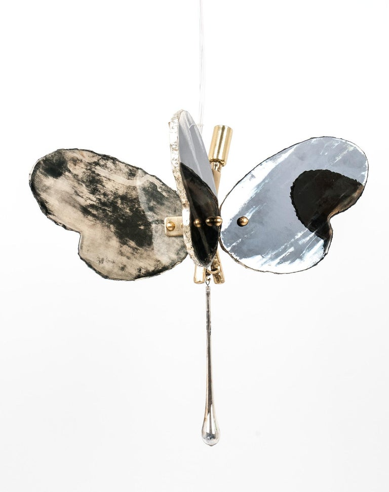 Butterfly Contemporary Lamp, Black Silvered Glass, Cast Brass Body, Crystal Drop For Sale 3