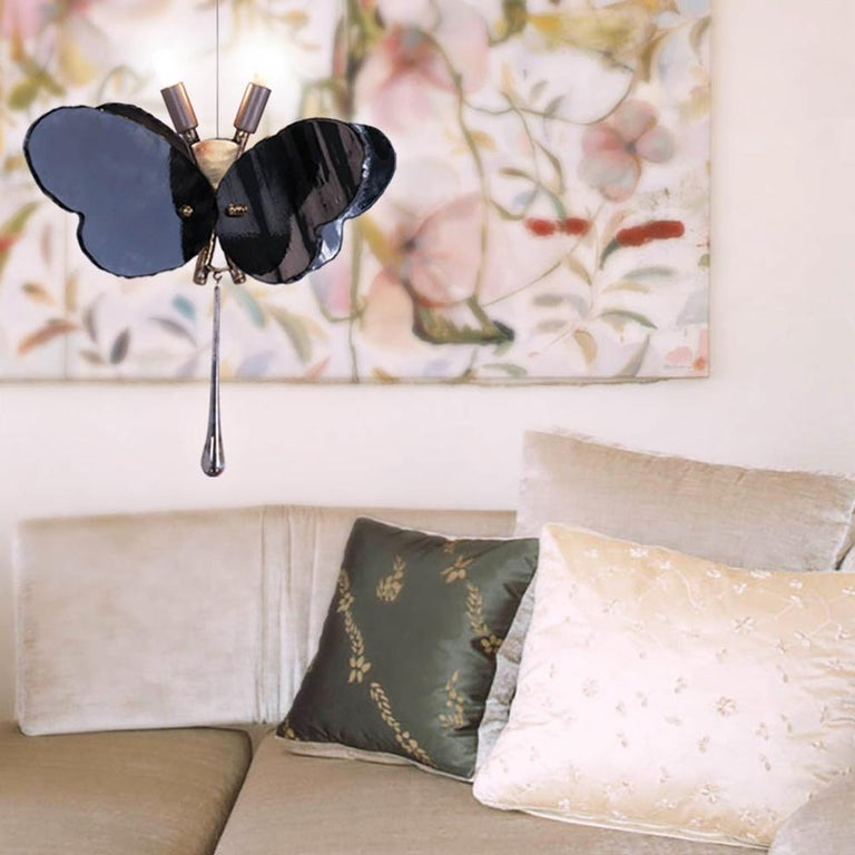 Butterfly Contemporary Lamp, Black Silvered Glass, Cast Brass Body, Crystal Drop For Sale 1