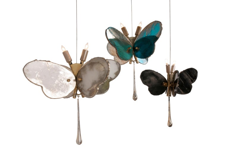 Butterfly Contemporary Lamp, Black Silvered Glass, Cast Brass Body, Crystal Drop In New Condition For Sale In Pietrasanta, IT