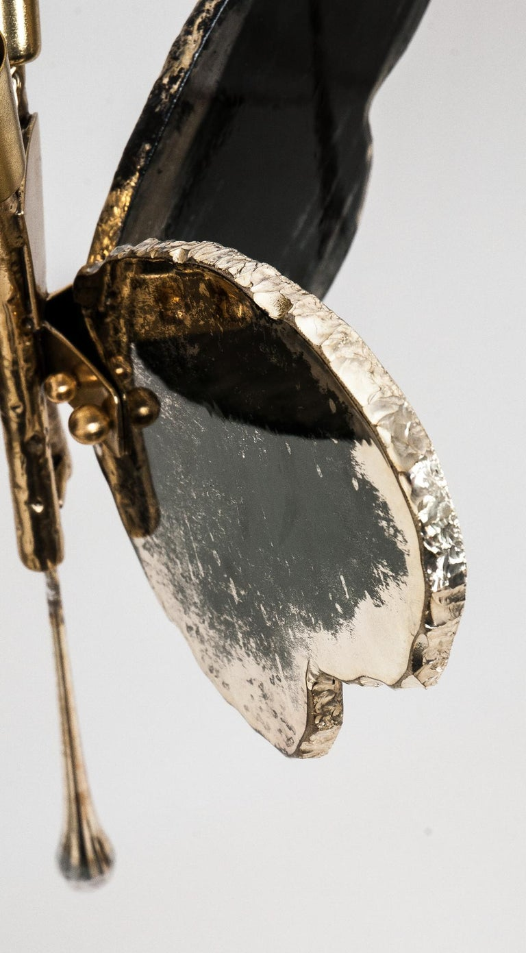Butterfly Contemporary Lamp, Black Silvered Glass, Cast Brass Body, Crystal Drop For Sale 5