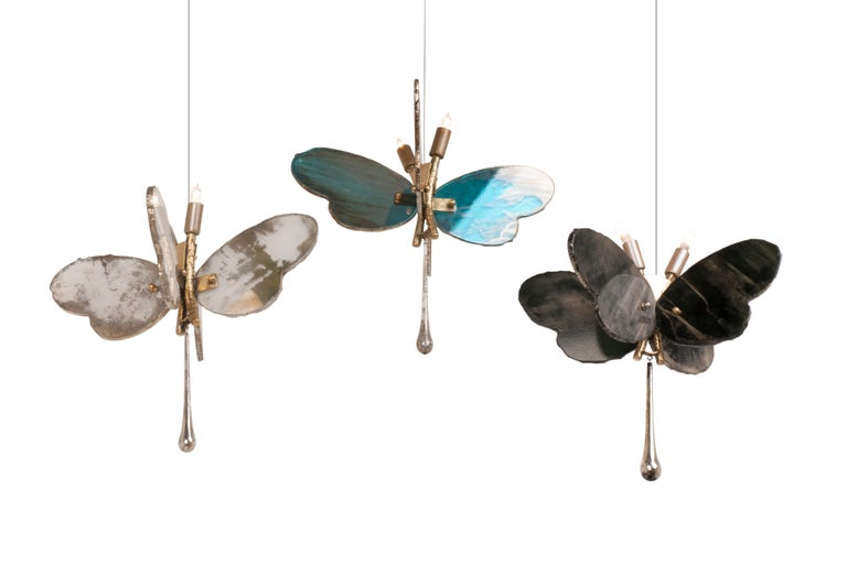 Butterfly Hanging Lamp Silvered Glass Hand Cast Body Crystal Handmade 10
