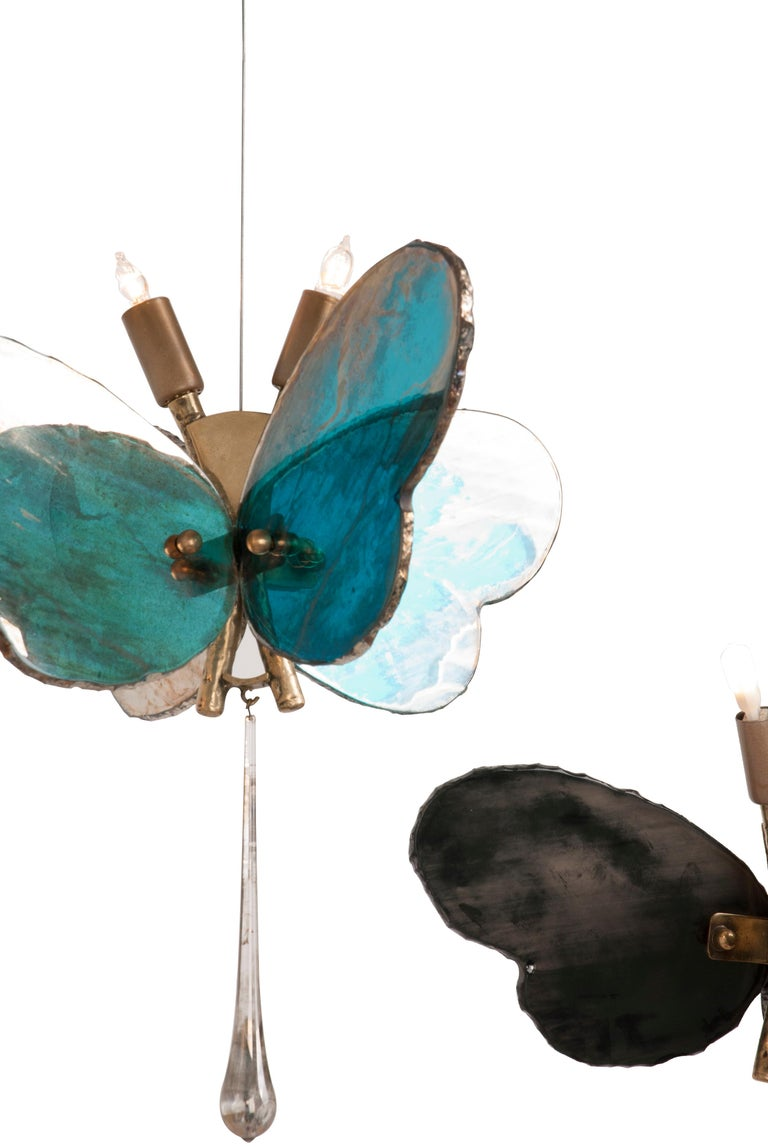 Butterfly Hanging Lamp Silvered Glass Hand Cast Body Crystal Handmade 11