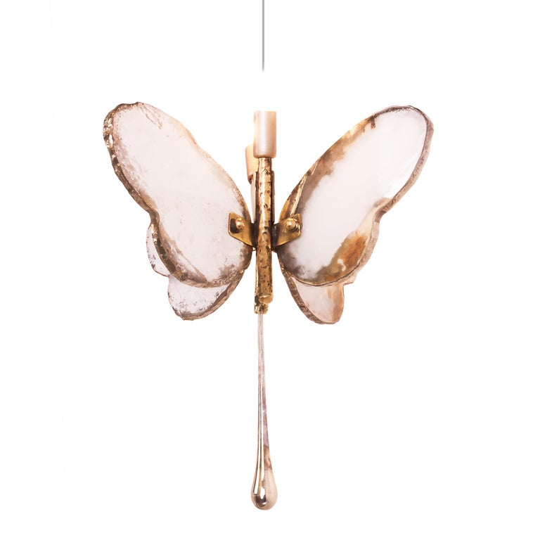 Butterfly Hanging Lamp Silvered Glass Hand Cast Body Crystal Handmade For Sale 8