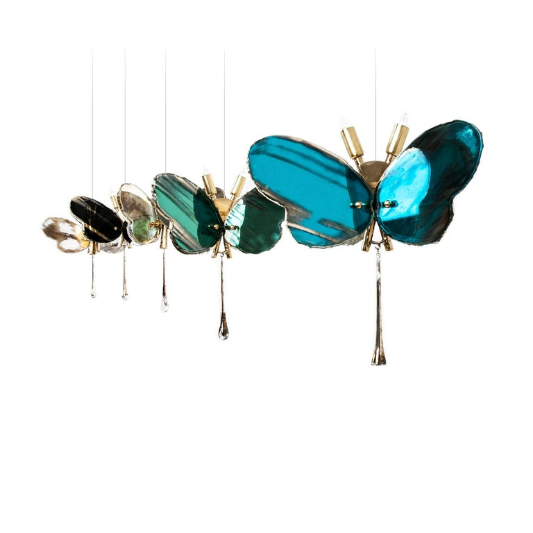 Butterfly Hanging Lamp white Silvered Glass ,brass Body, Crystal drop In New Condition For Sale In Pietrasanta, IT