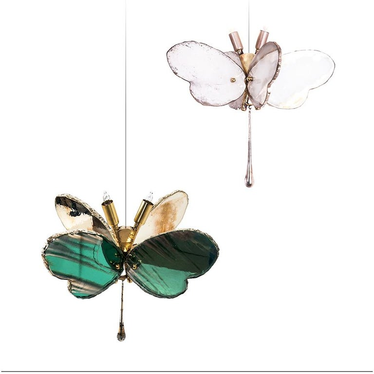 Contemporary Butterfly Hanging Lamp white Silvered Glass ,brass Body, Crystal drop For Sale