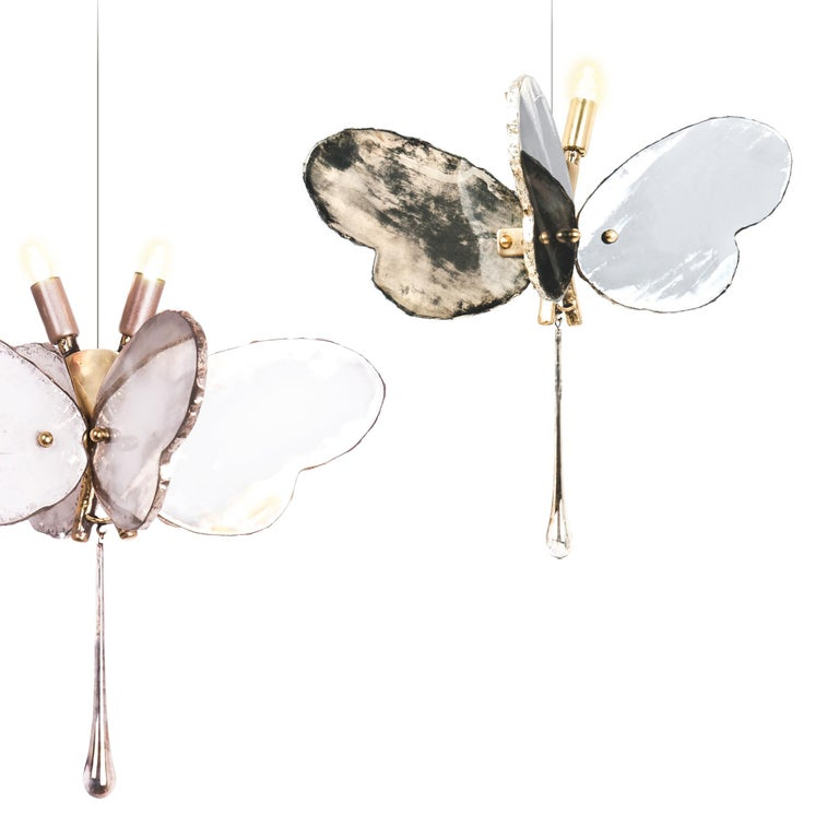 Art Glass Butterfly Hanging Lamp white Silvered Glass ,brass Body, Crystal drop For Sale