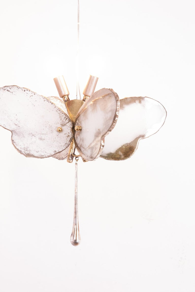Butterfly Hanging Lamp Silvered Glass Hand Cast Body Crystal Handmade For Sale 3