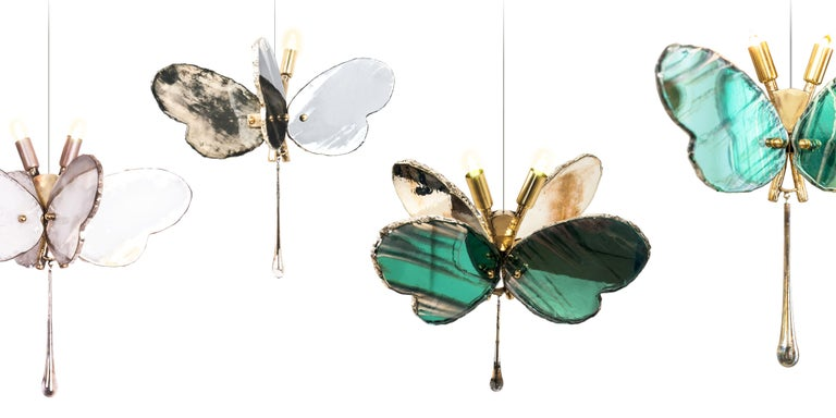 Butterfly Hanging Lamp white Silvered Glass ,brass Body, Crystal drop For Sale 1