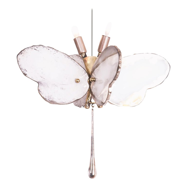 Butterfly Hanging Lamp Silvered Glass Hand Cast Body Crystal Handmade For Sale