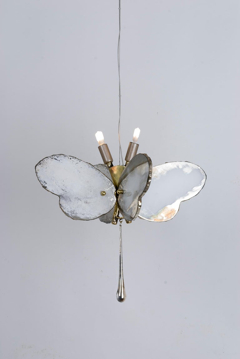 Butterfly Hanging Lamp Silvered Glass Hand Cast Body Crystal Handmade 2
