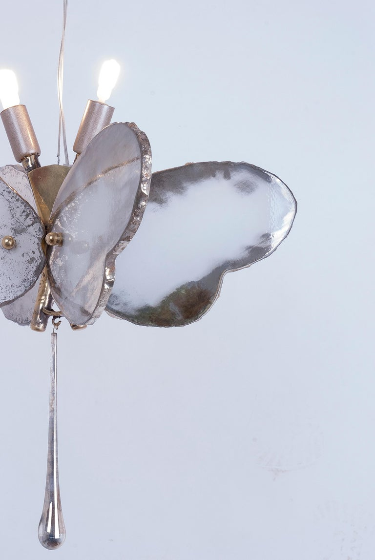 Butterfly Hanging Lamp Silvered Glass Hand Cast Body Crystal Handmade 7
