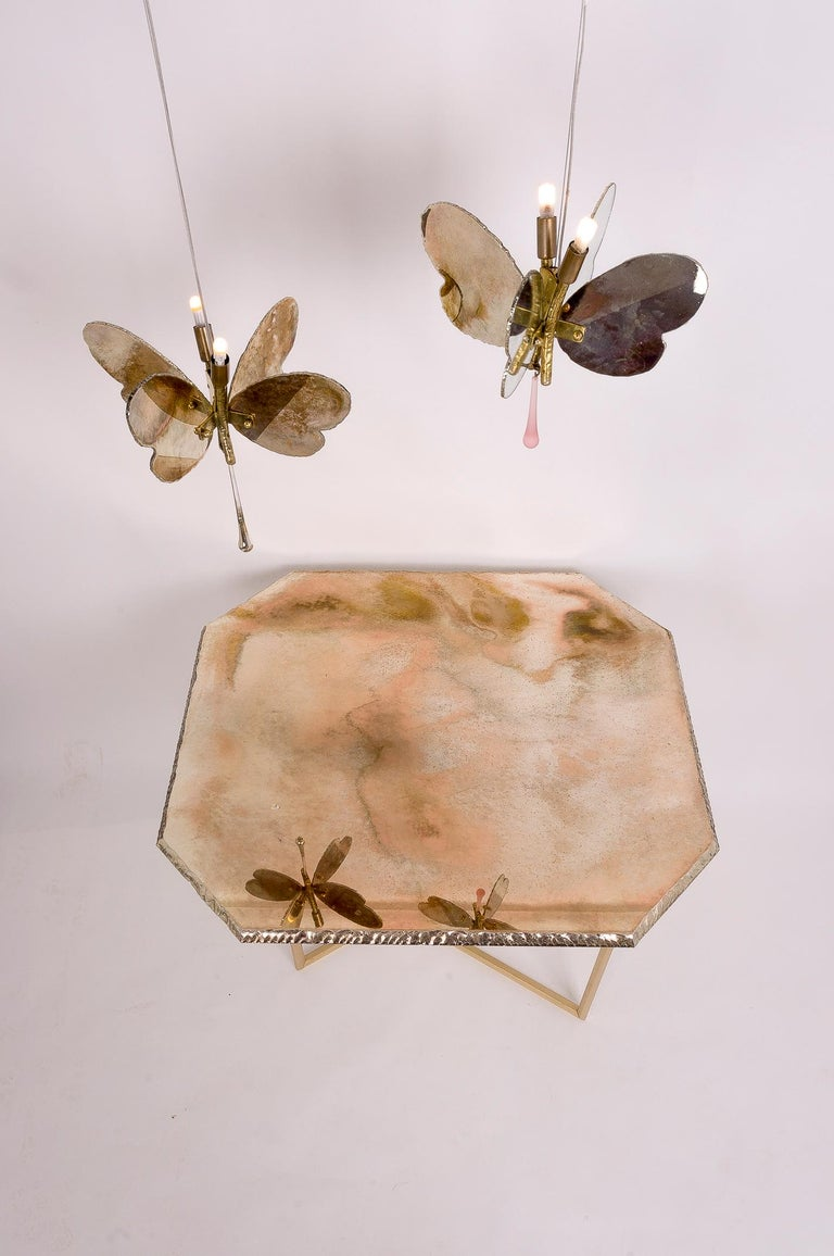Butterfly Hanging Lamp Silvered Glass Hand Cut Skin Brass Body Crystal Handmande For Sale 8