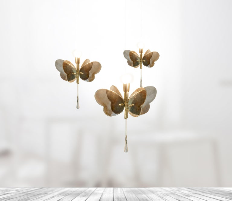 Butterfly Hanging Lamp Silvered Glass Hand Cut Skin Brass Body Crystal Handmande For Sale 11