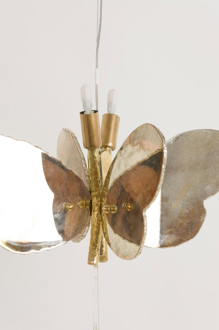 Butterfly Hanging Lamp Silvered Glass Hand Cut Skin Brass Body Crystal Handmande For Sale 2