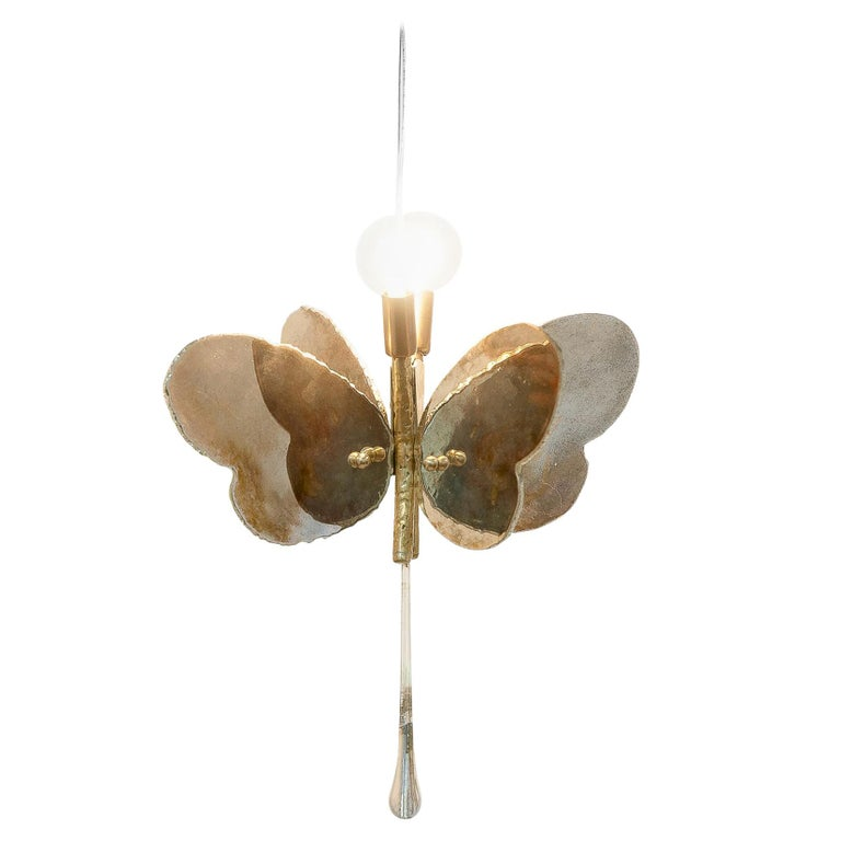 Butterfly Hanging Lamp Silvered Glass Hand Cut Skin Brass Body Crystal Handmande For Sale