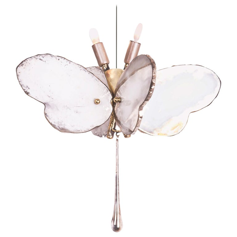 Butterfly Hanging Lamp white Silvered Glass ,brass Body, Crystal drop For Sale
