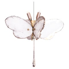 Butterfly Hanging Lamp white Silvered Glass ,brass Body, Crystal drop