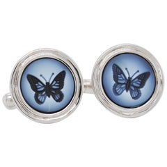 Butterfly Agate Intaglio Contemporary Sterling Silver Gemstone Cufflinks